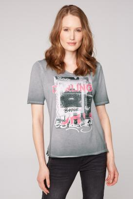 T-Shirt mit Glitter-Print und Used-Kanten