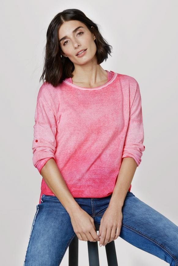 2-in-1 Pullover mit Used-Färbung oriental pink