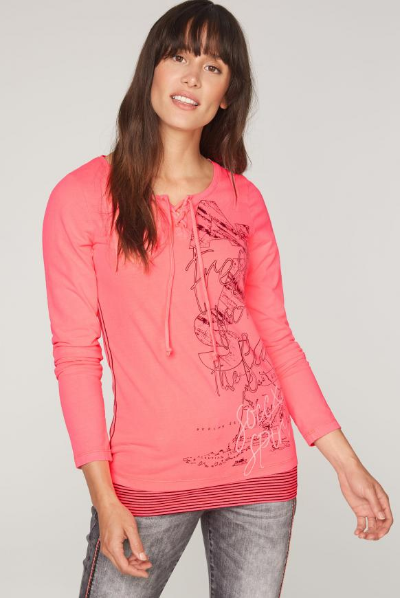 2-in-1 Serafino-Shirt mit Layering flashy red