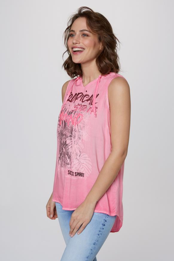 Ärmellose Bluse mit Kapuze und Print lush rose