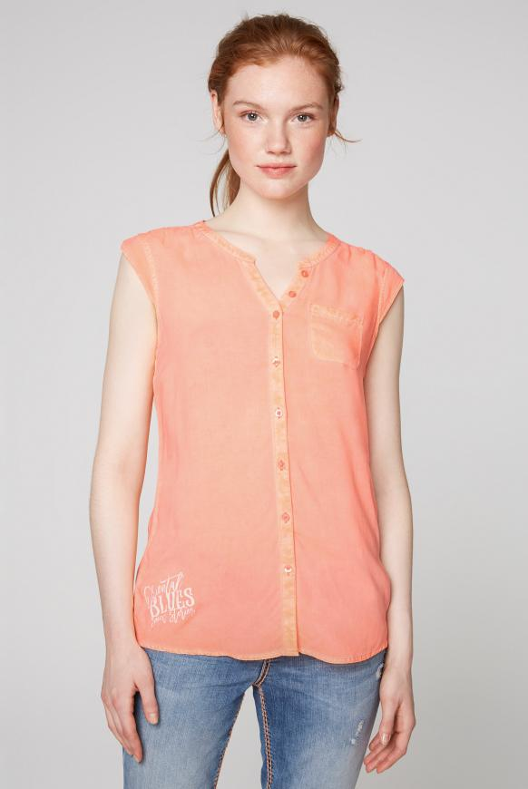 Ärmellose Bluse mit Rücken-Artwork spicy orange