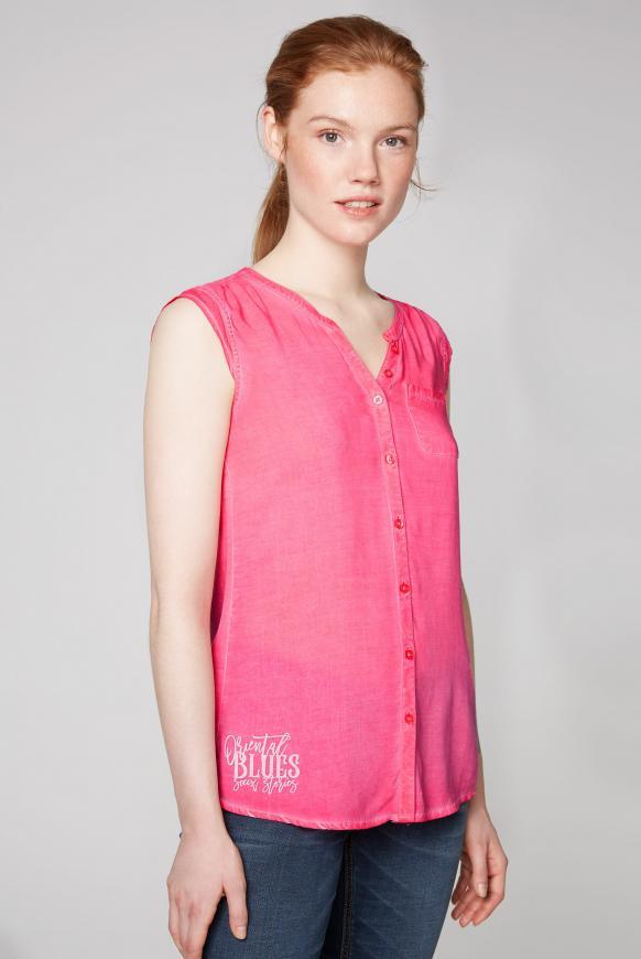 Ärmellose Bluse mit Rücken-Artwork oriental pink