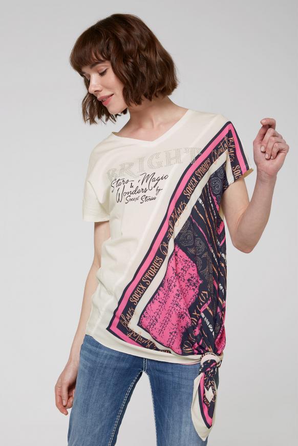Asymmetrisches T-Shirt im Materialmix ivory