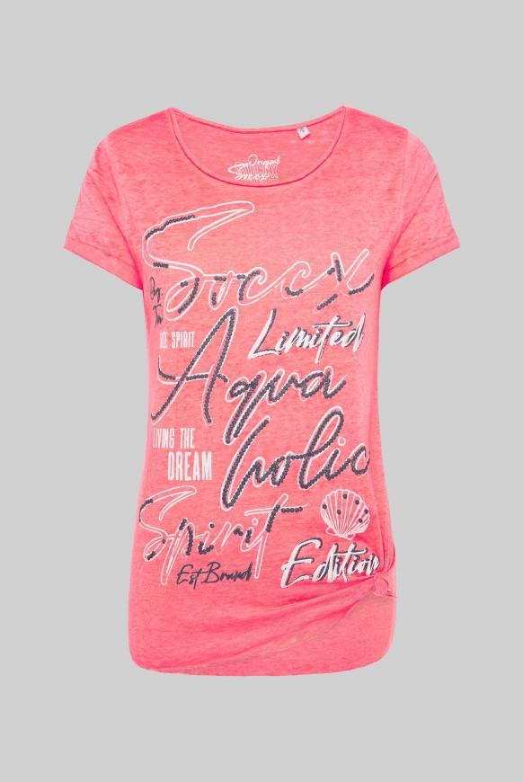 Ausbrenner-Shirt mit Knotensaum und Puff Print neon rosa