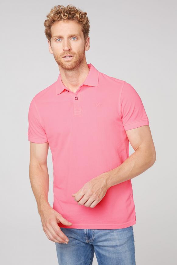 Basic Kurzarmpolo aus Piquee neon pink