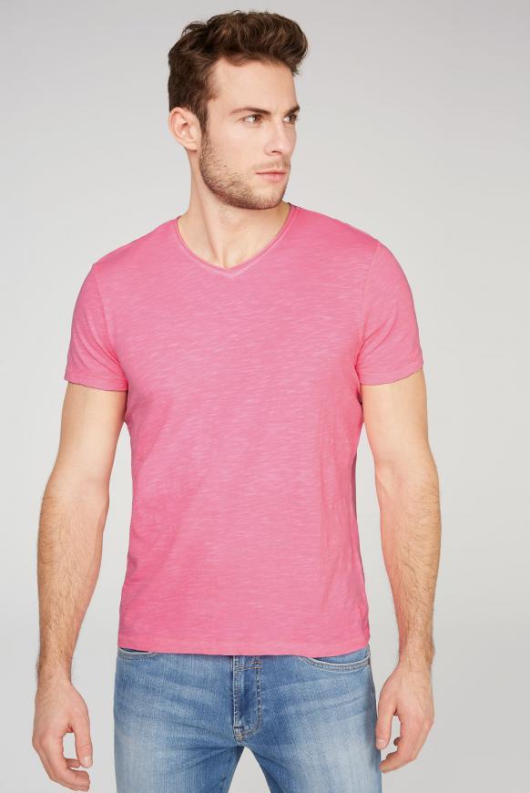 Basic T-Shirt mit V-Ausschnitt neon pink