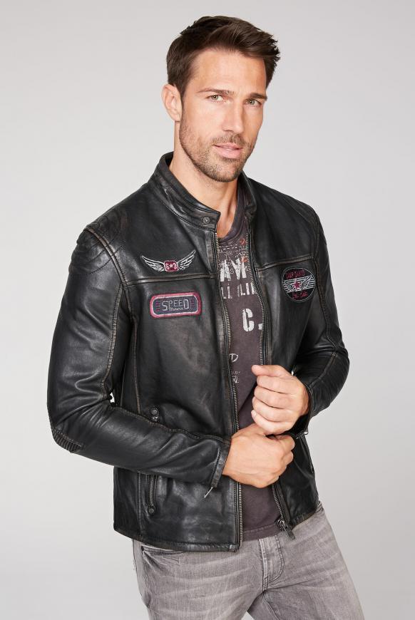 Bikerjacke aus Leder mit Badges black