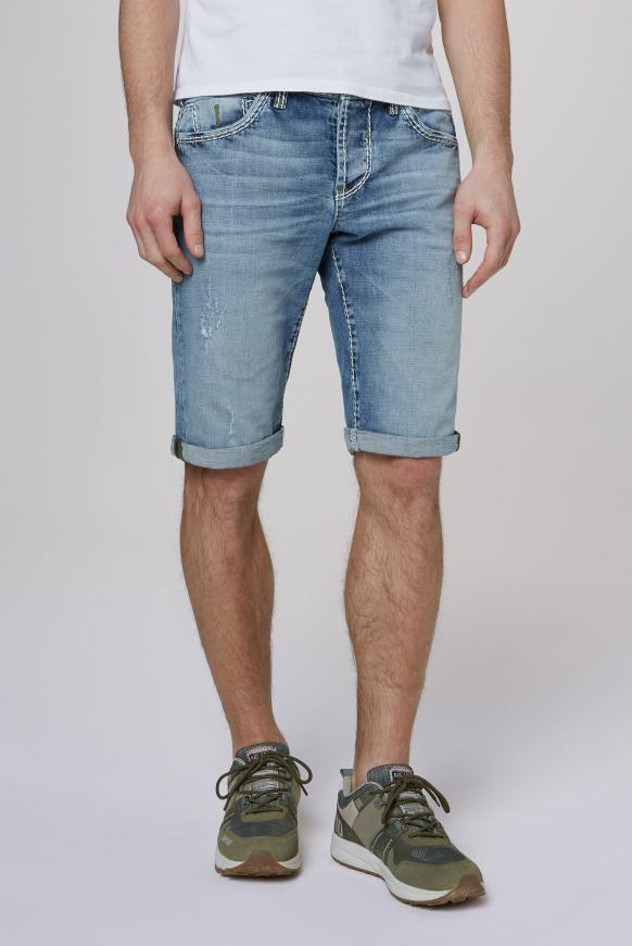 Bleached Skater Shorts RO:BI mit Knopfleiste light blue used