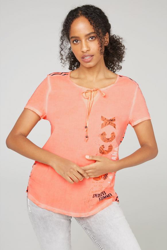 Blusenshirt mit gestreifter Rückseite spicy orange