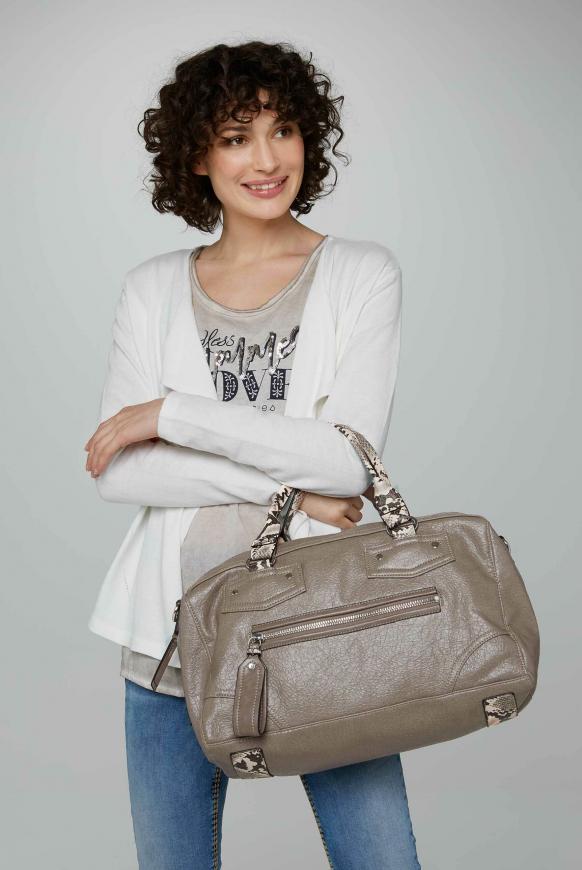 Bowlingtasche mit Mini-Bag-Anhänger taupe