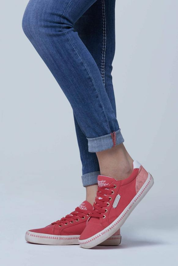 Canvas Sneaker mit bedruckter Sohle red summer