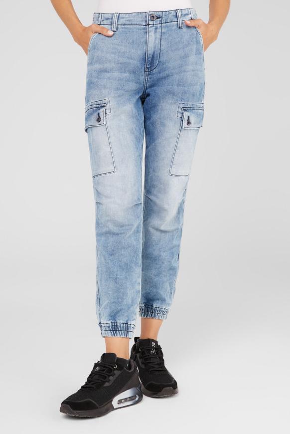Cargo Jeans CAR:LA aus Sweatmaterial light blue