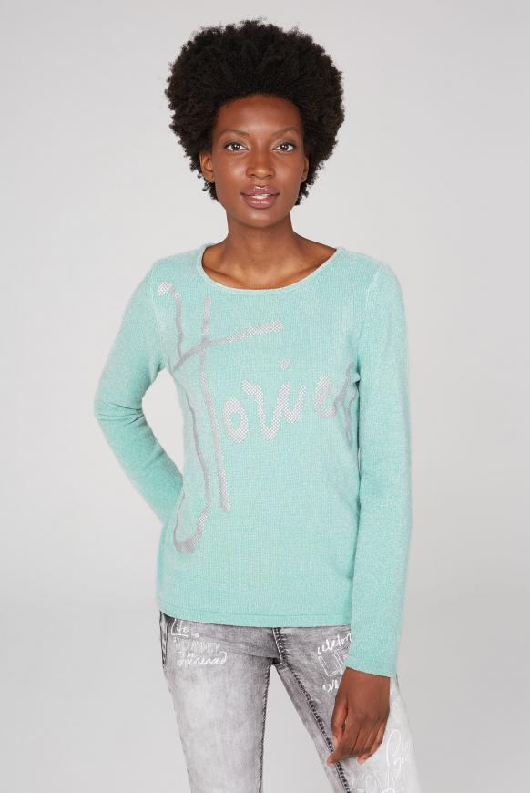 Chenille-Pullover mit Label Print frozen aqua