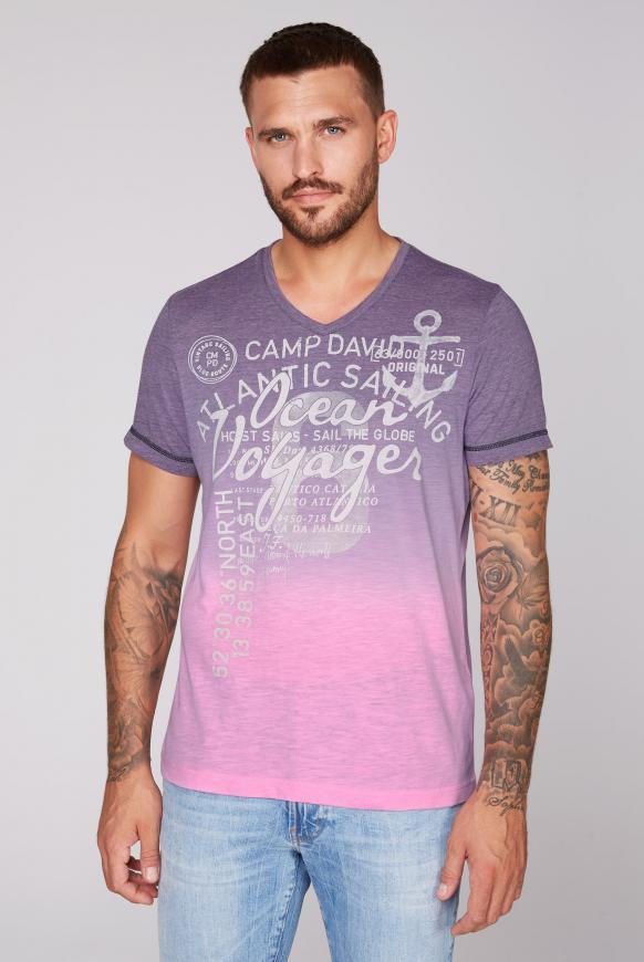 Dip Dye T-Shirt mit V-Neck und Print neon pink