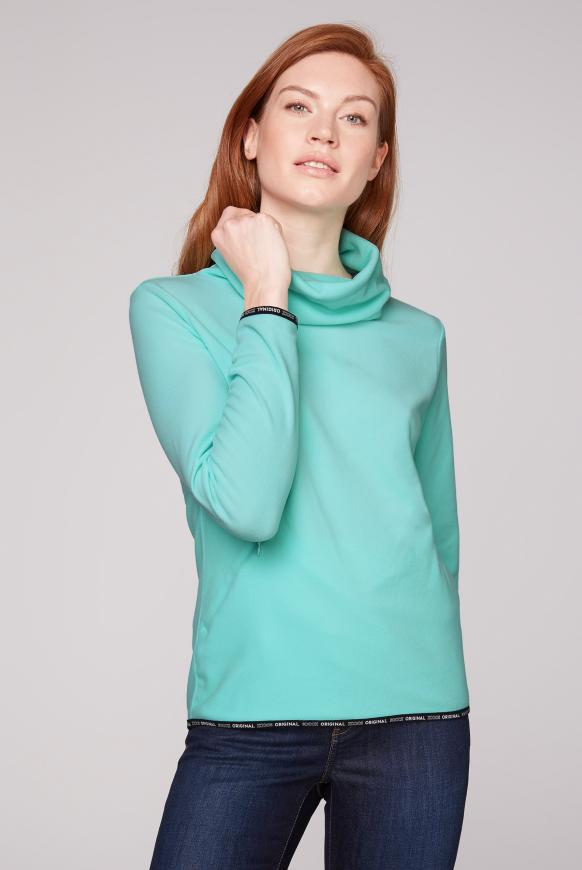 Fleece-Pullover mit Back Artwork neo-aqua