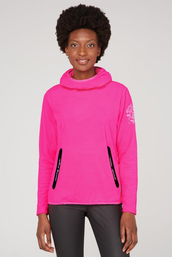 Fleeceshirt mit Kapuze und Coated Zipper knockout pink