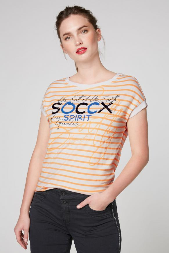 Fließendes Streifenshirt mit Frontprint opticwhite