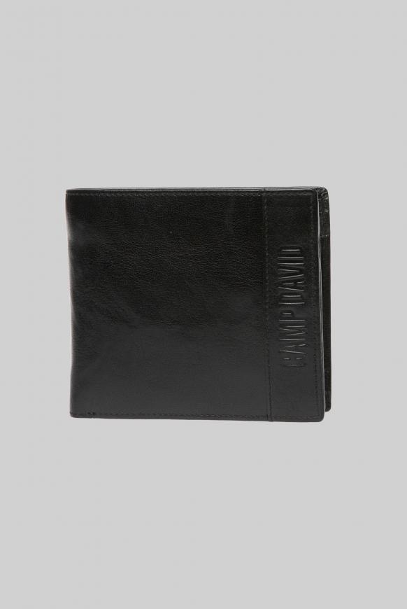 Geldbörse mit Logo-Prägung, Querformat black