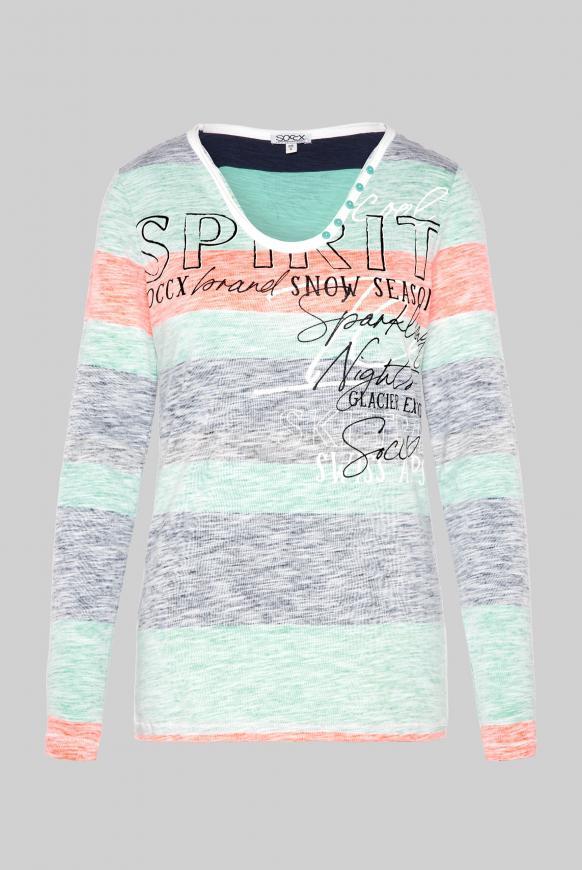Gestreiftes Langarmshirt mit Glitter Print multi color