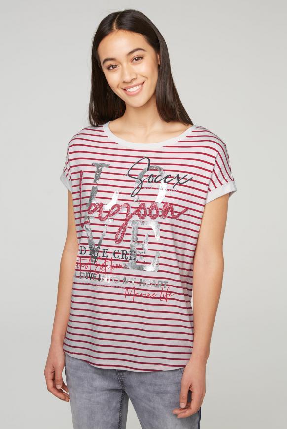 Gestreiftes T-Shirt mit Wording Print royal red
