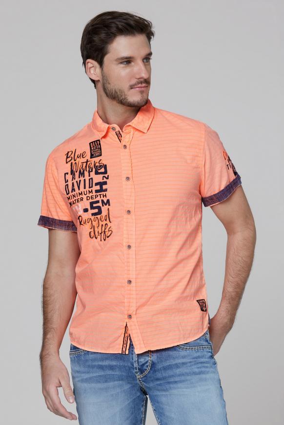 Hemd mit Strukturstreifen und Artworks neon orange
