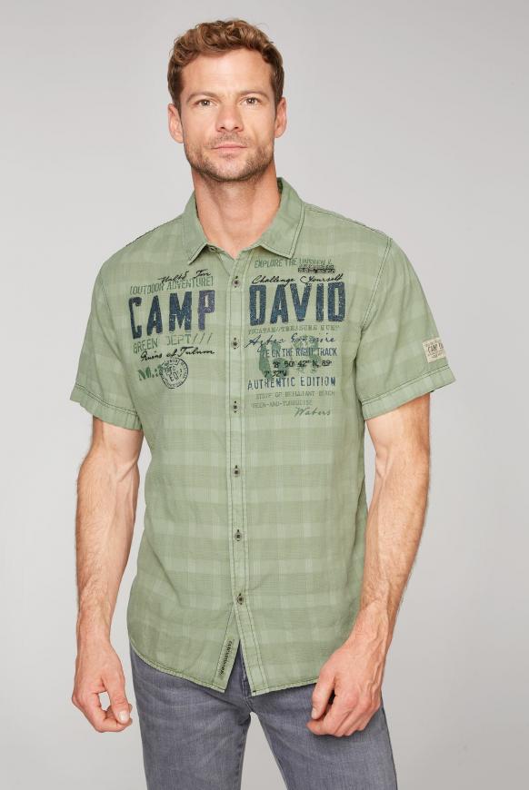 Hemd mit toniger Karo-Struktur und Artwork treasure green