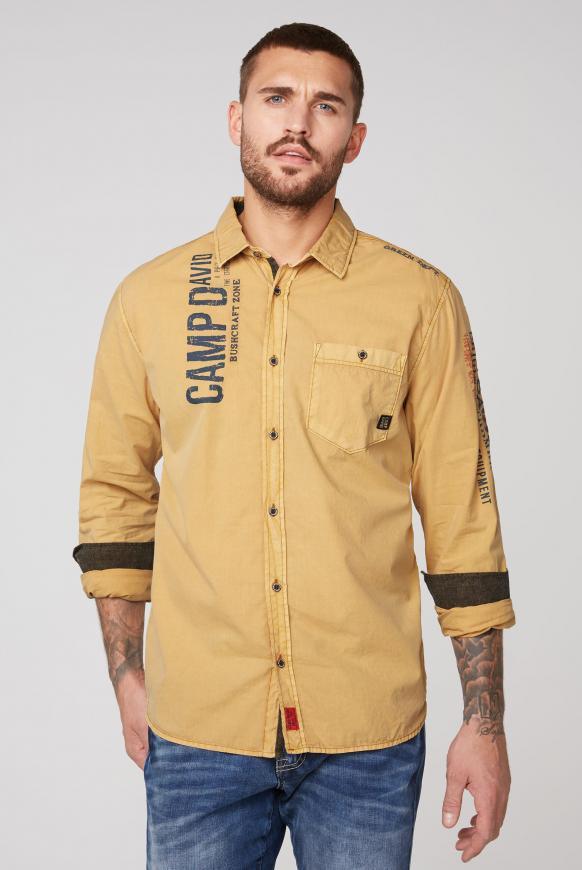 Hemd mit Used-Waschung und Rücken-Print rising sun