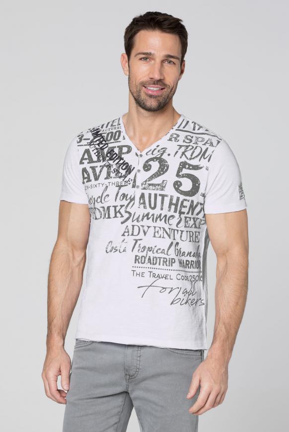 Henley-Shirt im Vintage Look mit Print opticwhite