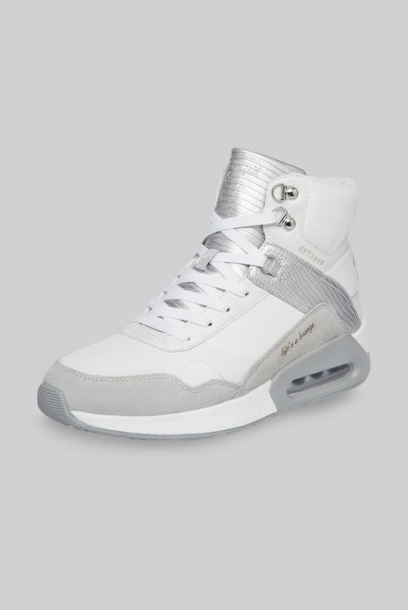 High-Top Sneaker im Materialmix ivory