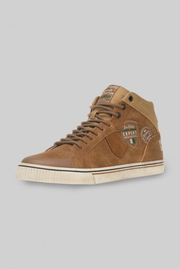 High Top Sneaker im Materialmix mit Label Patches tan