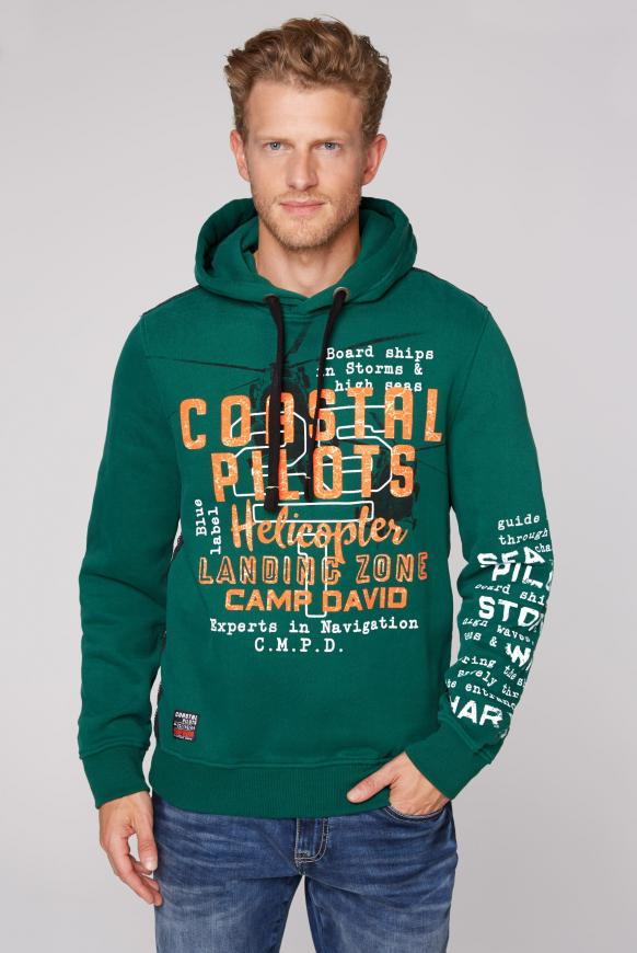 Hoodie mit Used Prints und Tapes green sea