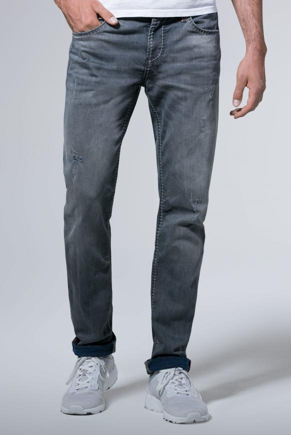 Jeans BR:AD mit gefärbter Innenseite und Destroys grey aged