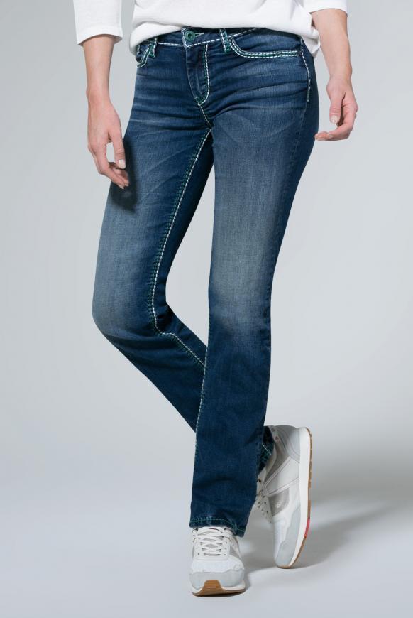 Jeans CO:LE mit Kontrastnähten und Boot Cut medium blue washed