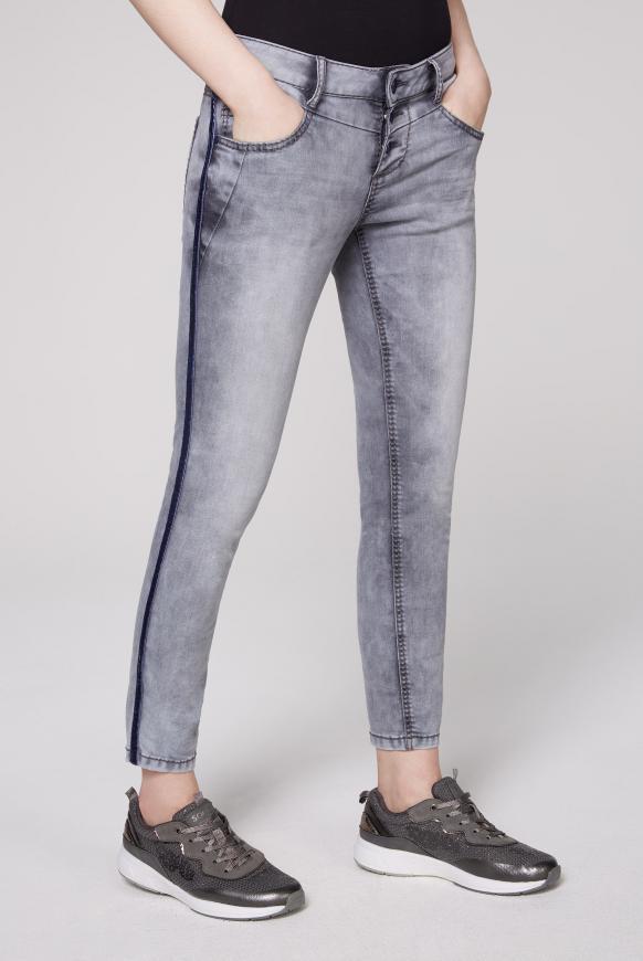 Jeans MI:RA mit Knopfleiste und Seitentape silver grey vintage