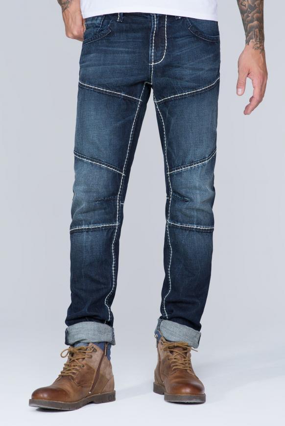 Jeans mit Biker-Elementen dark blue vintage
