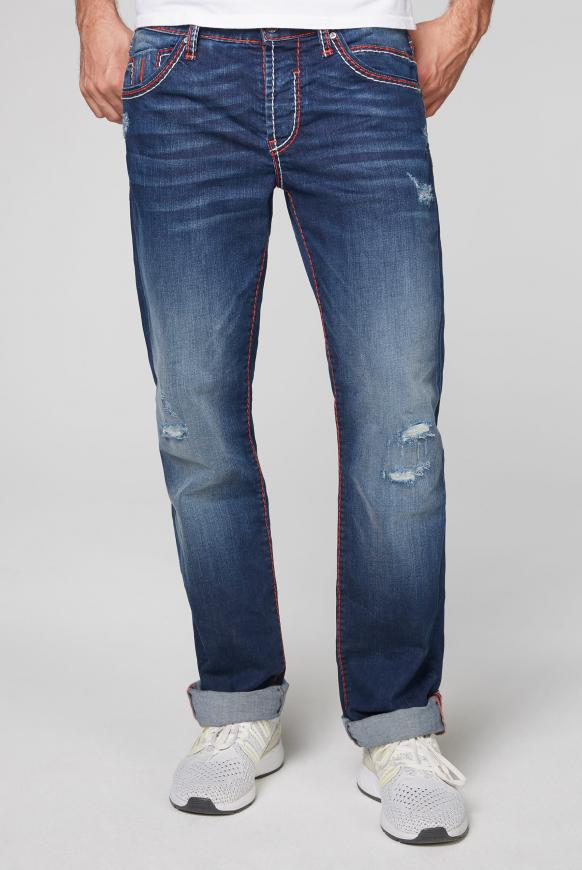 Jeans RO:BI mit bunten Nähten und Used Look ocean blue used