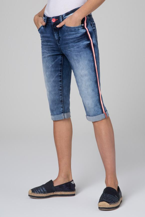 Jeans RO:MY Bermuda mit Seitentape deep blue used