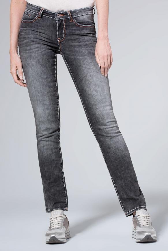 Jeans RO:MY mit Used-Optik und breiten Nähten grey used