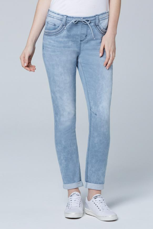 JO:SY Boyfriend Jogg Fit mit Used-Waschung sky blue washed