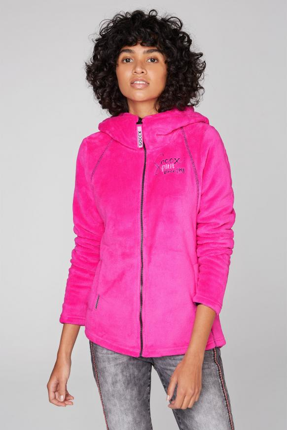 Kapuzenjacke aus Sherpa-Fleece electric magenta