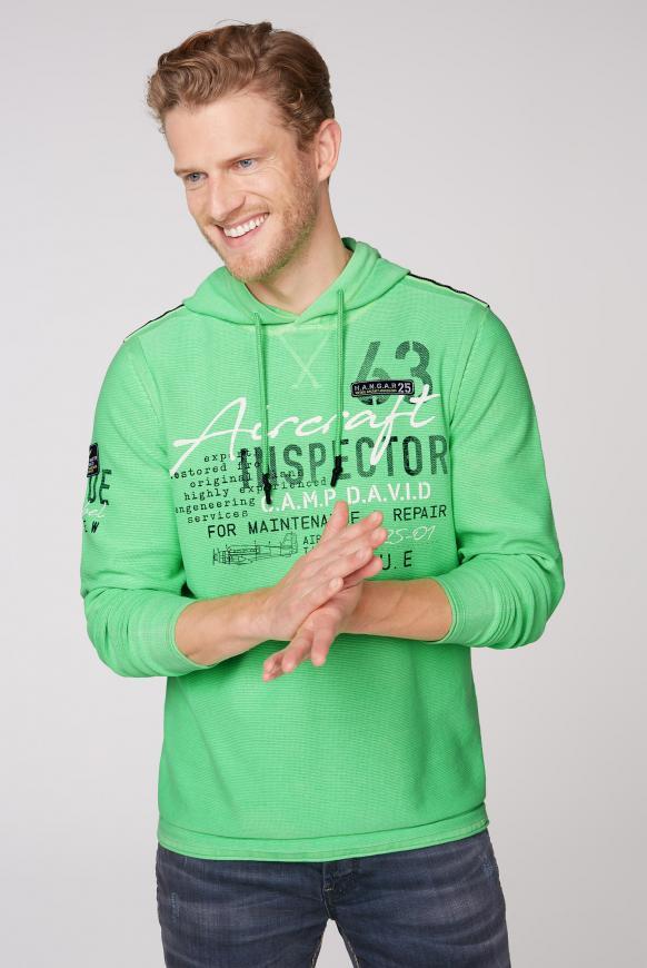 Kapuzenpullover mit Label Prints und Patches electric green