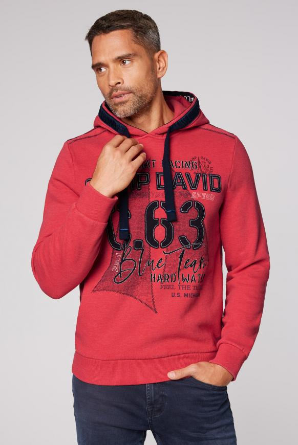 Kapuzensweater mit Label-Applikationen speed red