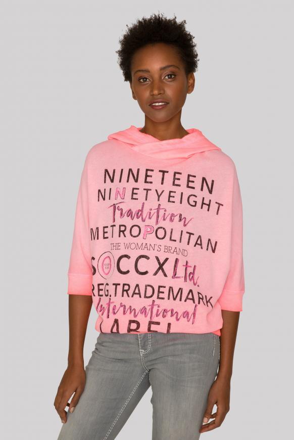Kapuzensweatshirt Inside Oil Dyed neon pink