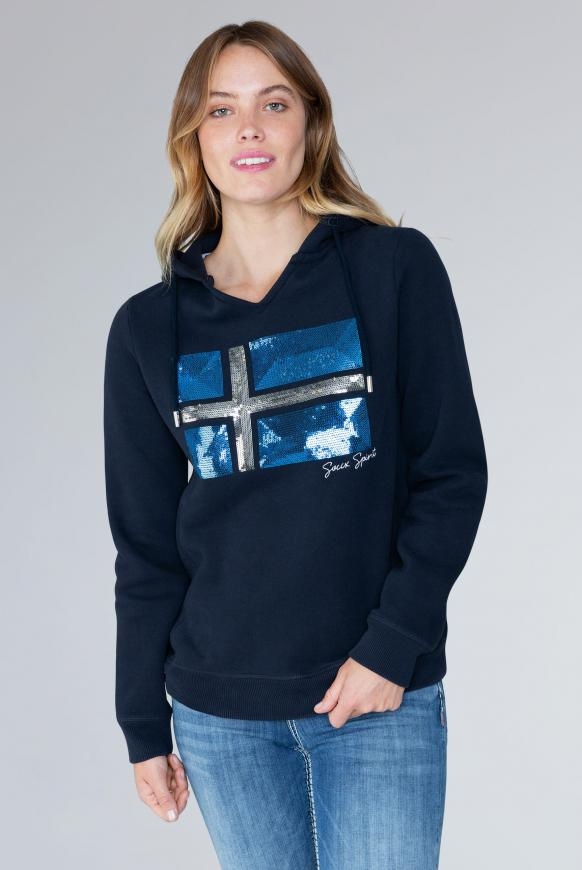 Kapuzensweatshirt mit Pailletten-Artwork blue navy