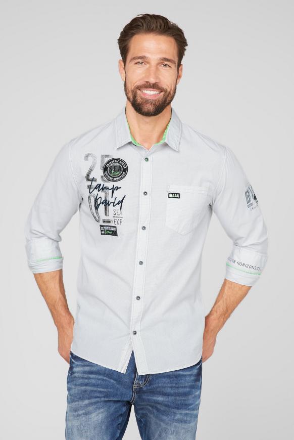 Kleinkariertes Langarmhemd mit Tasche opticwhite
