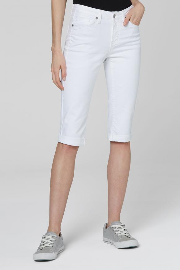 Knielange Jeans RO:MY mit tonigen Nähten white