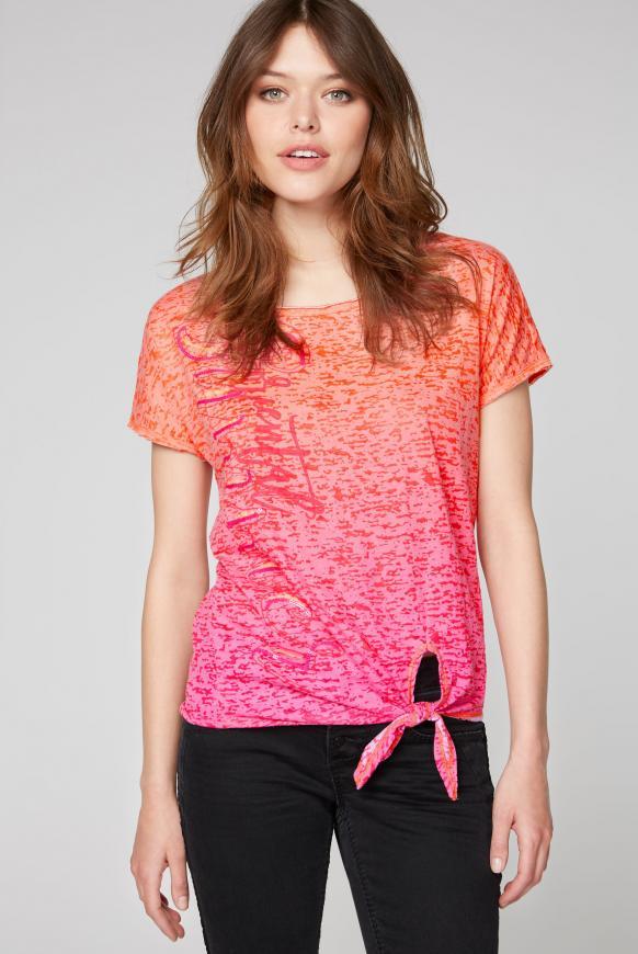 Knotenshirt mit Ausbrennern und Artwork spicy orange