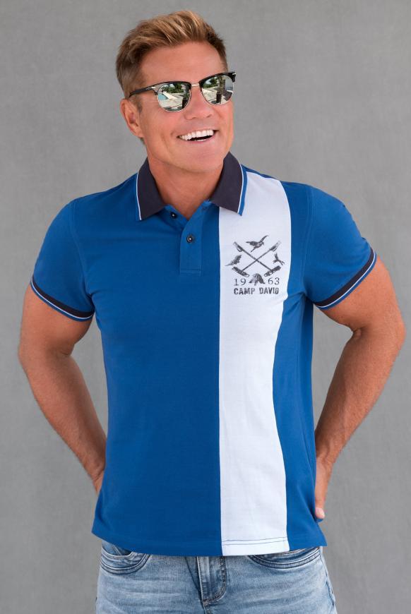 Kurzärmliges Poloshirt aus Pikee cobalt