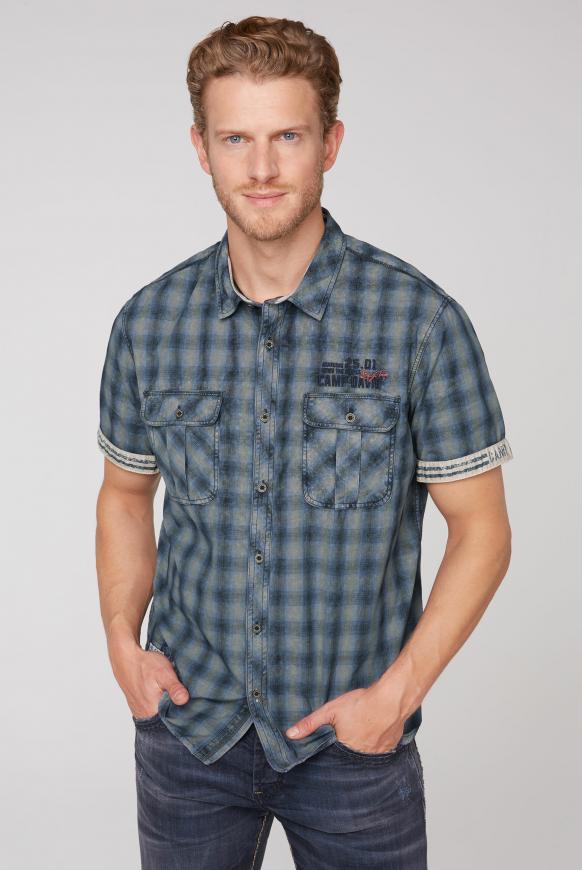 Kurzarmhemd mit Karomuster und Stickereien wild khaki/black