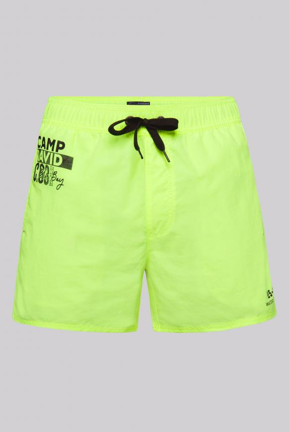 Kurze Badeshorts mit Kontrastkordel und Prints neon yellow